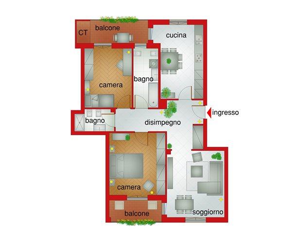 floorplans Pinerolo: Appartamento in Vendita, Via Novarea, 40/B, immagine 1