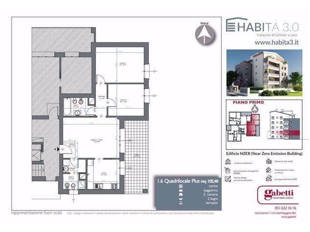 floorplans Granarolo dell'Emilia: Appartamento in Vendita, Via Quasimodo, 1, immagine 1